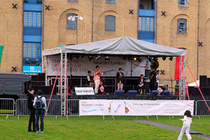 Stage and sound setup outside the Excel Centre