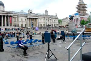 view across trafalgar square from stage